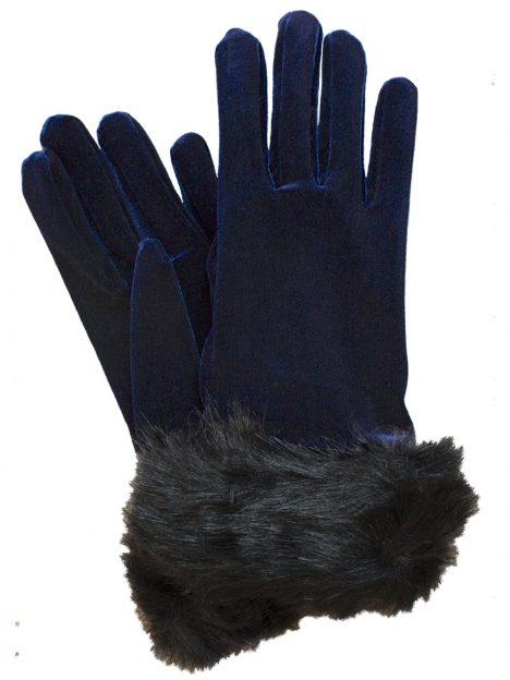 Dents Navy Short Velvet Gloves with faux fur cuff