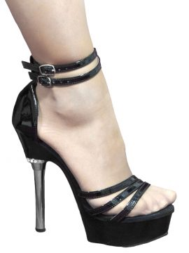 Pleaser Black Patent Chrome High Heel Sandals