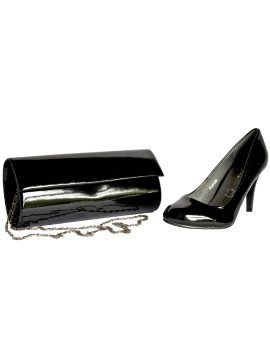 Lunar Black Patent Matching Shoes and Bag