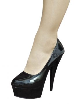 Pleaser Black Patent Platform High Heels Pumps