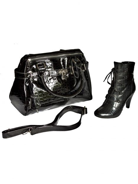 Lunar Black Patent Matching Ankle Boots and Bag