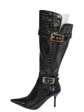 Knee High Boots, Black Crocodile High Heel