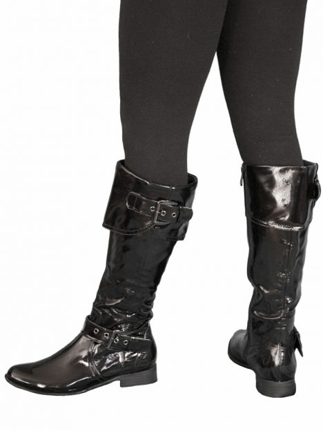 Knee Boots - Black Patent Pirate Style
