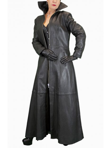 Ladies Long Black Leather Gothic Coat, red and black lining