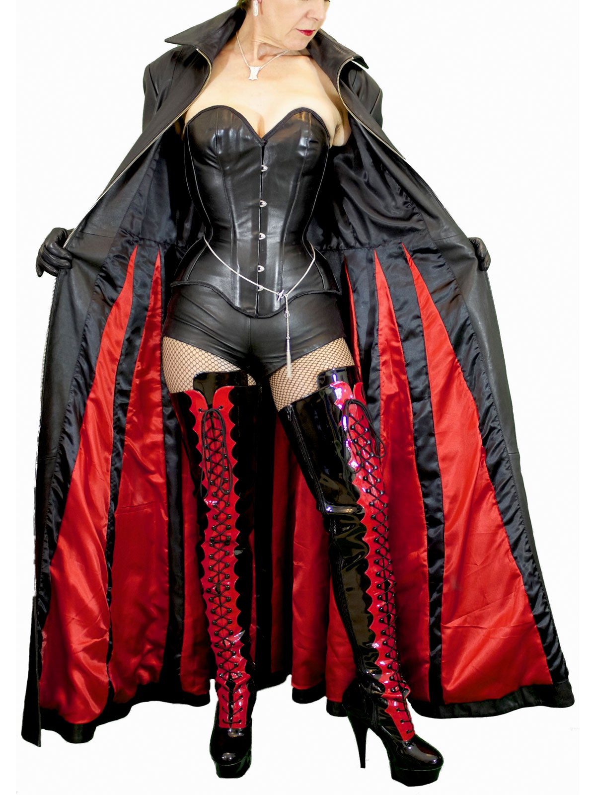 Long Gothic Leather Coat, red & black lining