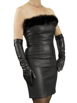 Black Strapless Leather Cocktail Dress with fur trim