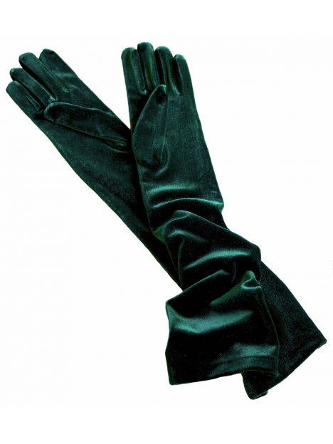 Dents Forest Green Long Velvet Gloves