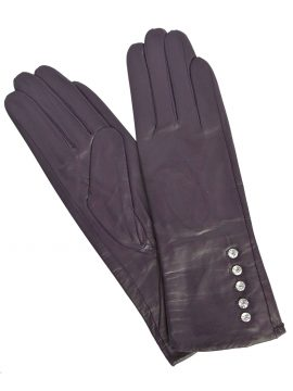 Pia Rossini Amethyst Leather Dress Gloves, diamante buttons