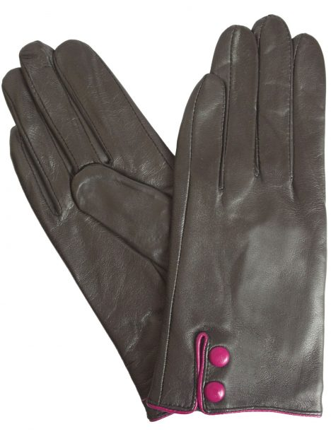 Pia Rossini Ladies Black Leather Gloves with Orchid Buttons