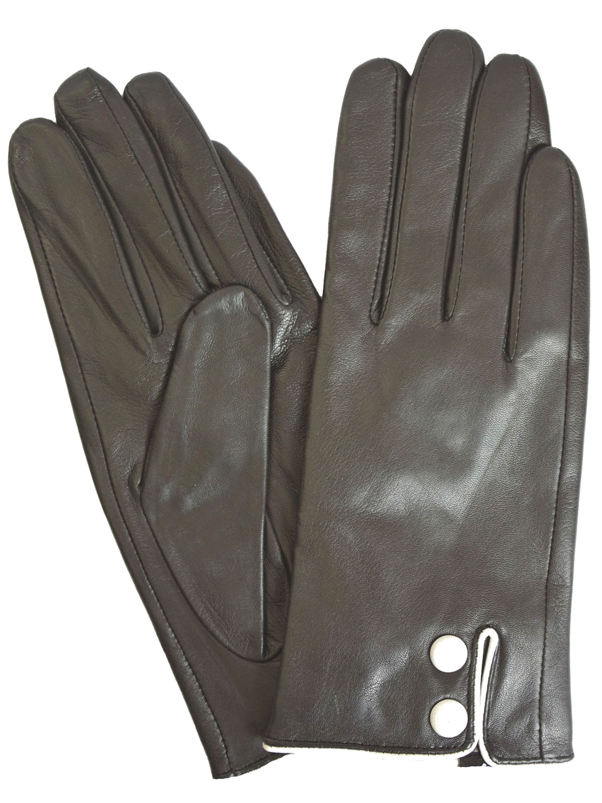 Black leather gloves buttons -  Pia Rossini Ladies Black Leather Gloves With White Buttons