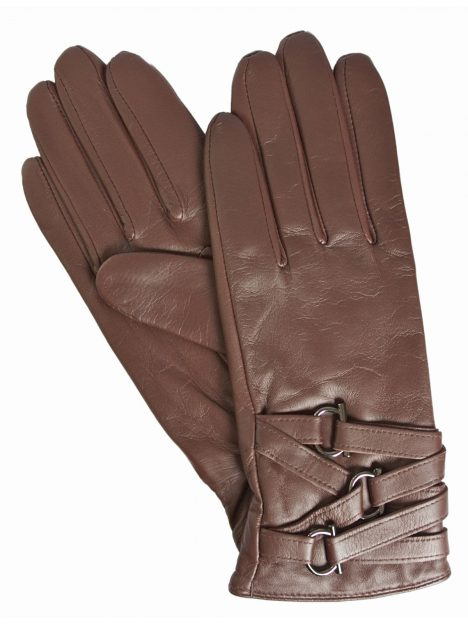 Dents Ladies Leather Gloves, chestnut brown with multistrap cuff