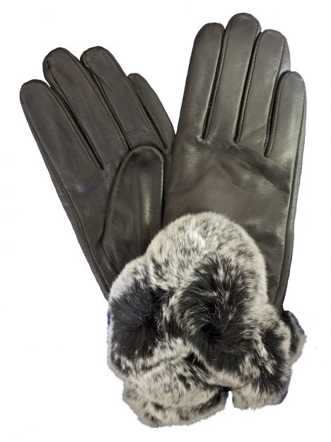 Pia Rossini Ladies Leather Gloves with Fur Cuff
