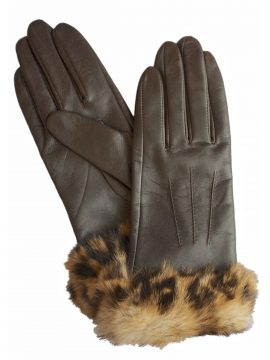 Dents Ladies Brown Leather Gloves with Fur Cuff