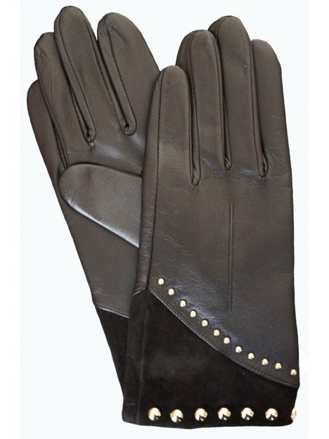 Dents Ladies Black Leather Gloves Suede Cuff