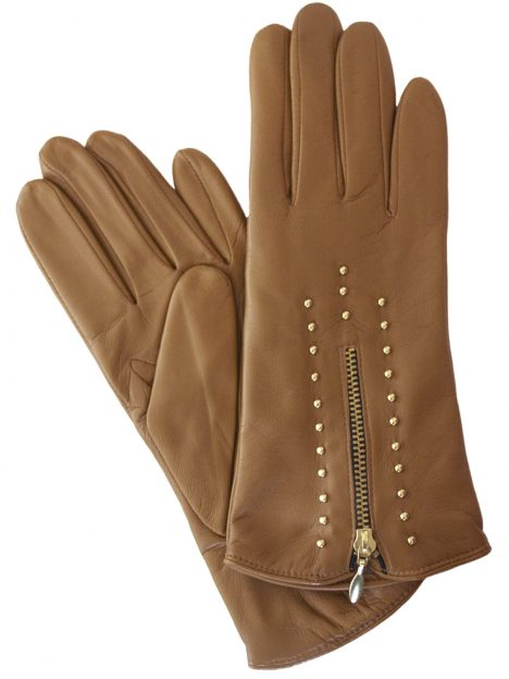 Dents Ladies Tan Leather Gloves with gold zip and studs
