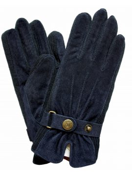 Dents Ladies Navy Suede Gloves with knitted sides
