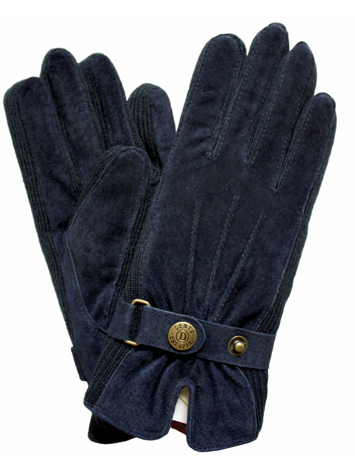 Dents Womens Suede Gloves With Knitted Sides Tout Ensemble