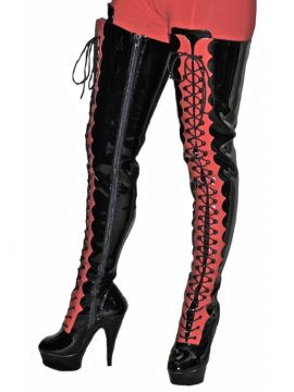 Pleaser Thigh High Boots , Black Red Patent Lacing High Heel Platform