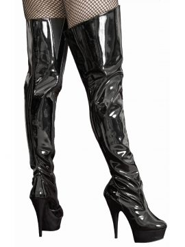 Pleaser Thigh Boots, Black Patent High Heel Platform