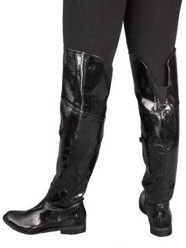 Possh! Black Patent Flat Over Knee Boots