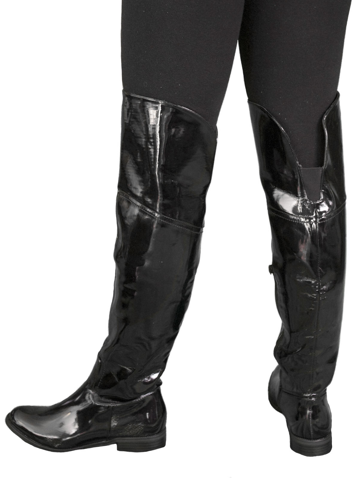 flat knee boots black patent tout ensemble