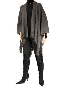 Pia Rossini Charcoal Womens Wrap Shawl, fringed