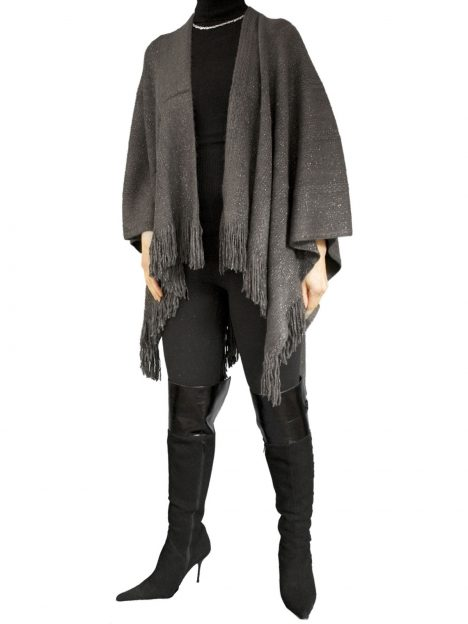 Pia Rossini Charcoal Womens Wrap Shawl, fringed