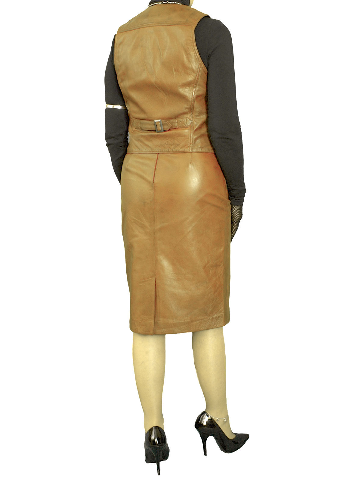 womens leather pencil skirt waistcoat tout ensemble