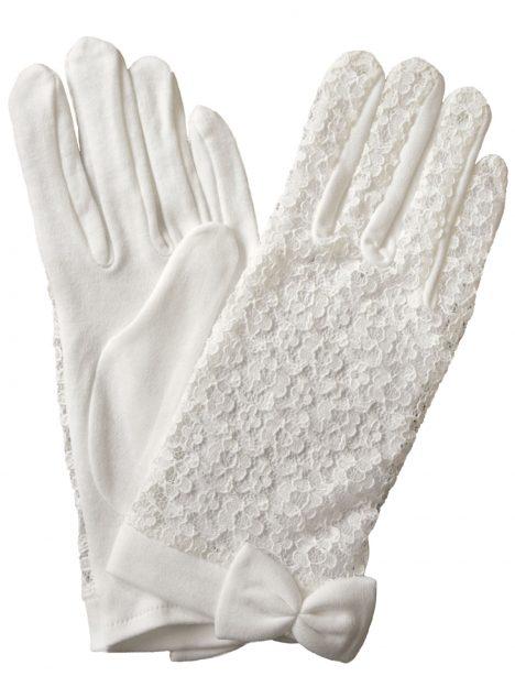 Dents Ivory Lace Back Cotton Dress Gloves