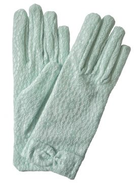 Dents Mint Pastel Vintage Lace Gloves with bow cuff
