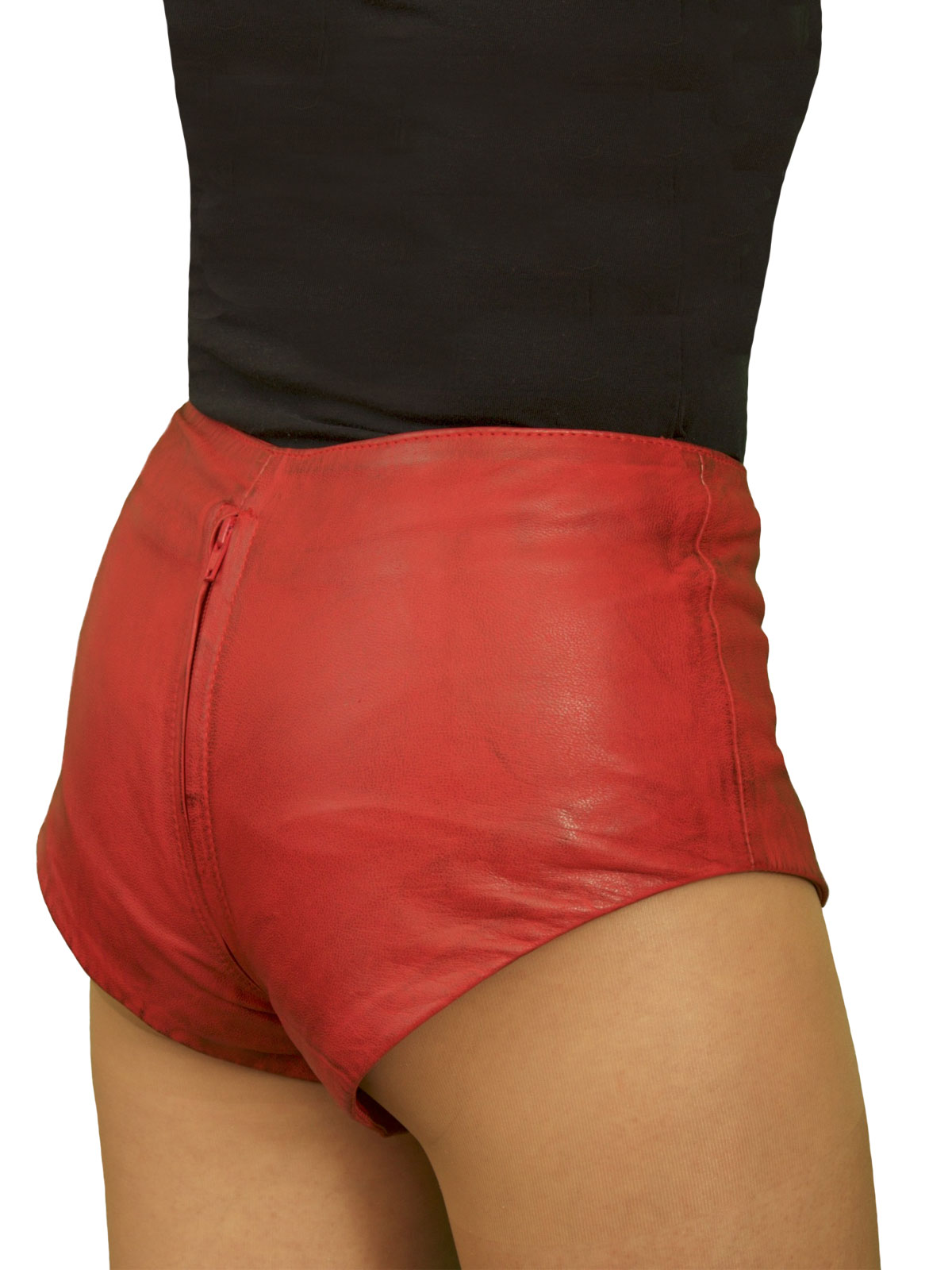 Leather Hot Pants, two-way crotch zip, mid-rise - Tout Ensemble