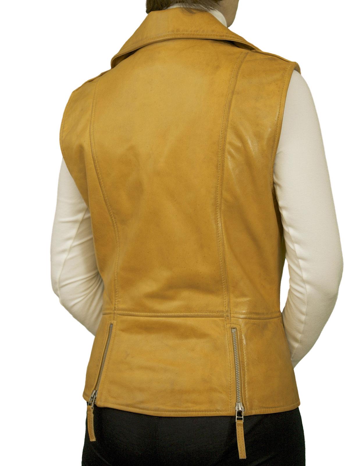 Womens Leather Gilet Waistcoat Biker Style Tout Ensemble