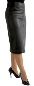 Black Leather Pencil Midi Skirt