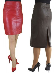 Red and Brown Leather Pencil Skirts