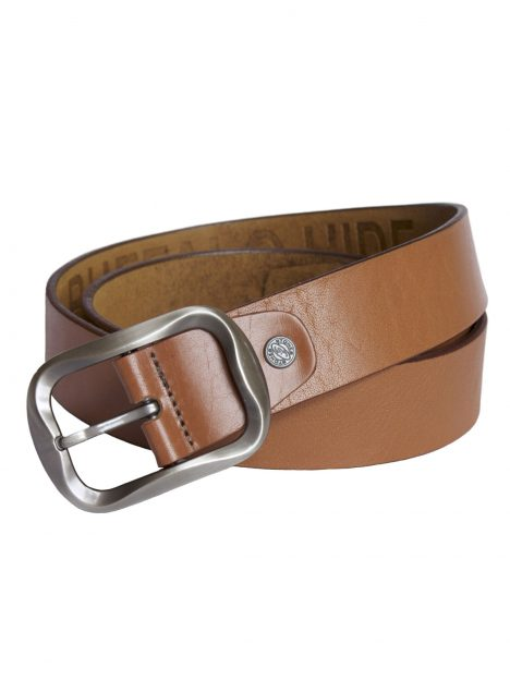 Mens Tan Leather Belt Buckle style 1