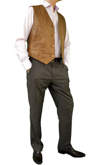 Mens Tan Leather Waistcoat