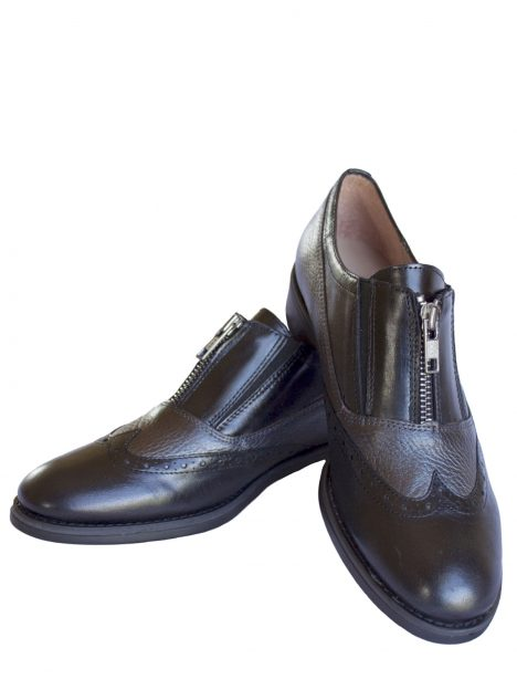 Women's Black Leather Brogue Style Shoes with zip