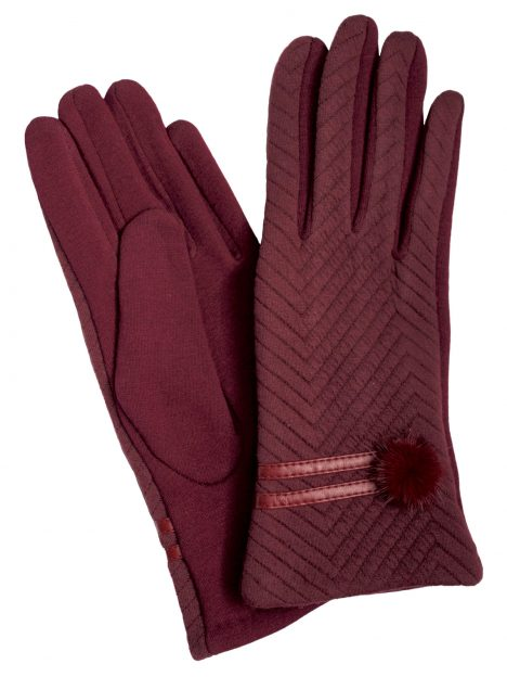 Camalya Women's Chic Fine Knit Winter Gloves, Bordeaux
