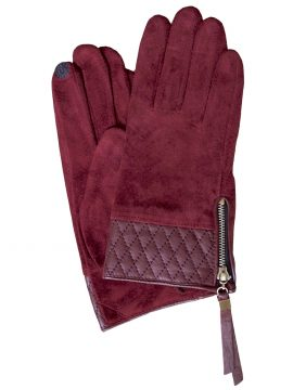 Dents Women's Suede Touchscreen Gloves, leather cuff, claret