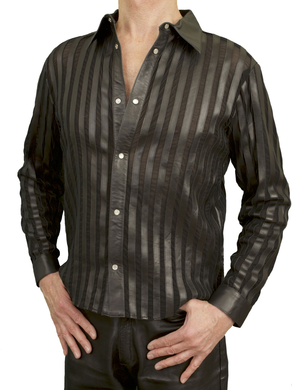Men 39 s luxury black lycra and leather shirt tout ensemble for Mens shirts with leather