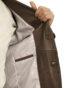 Mens Luxury Leather Blazer Jacket, 2 button, brown