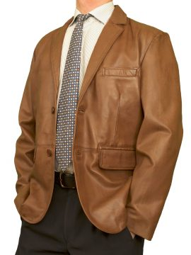 Mens Luxury Leather Blazer Jacket, 2 button, tan
