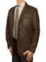 Mens Luxury Leather Blazer Jacket, 3 button, brown