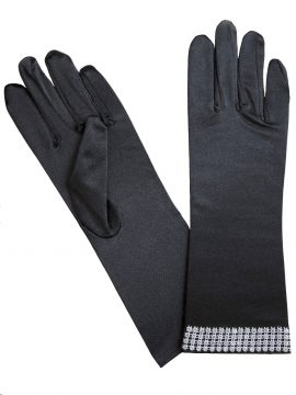 Black satin dress gloves with diamante cuff, Pia Rossini