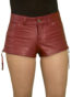 Womens Luxury Leather Hot Pants Shorts, jeans style, wine