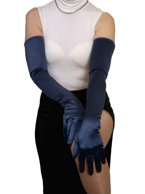 Dents navy long satin gloves