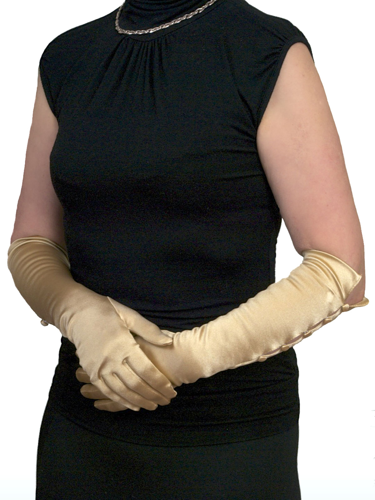 Dents gold 3/4 satin gloves 5 buttons