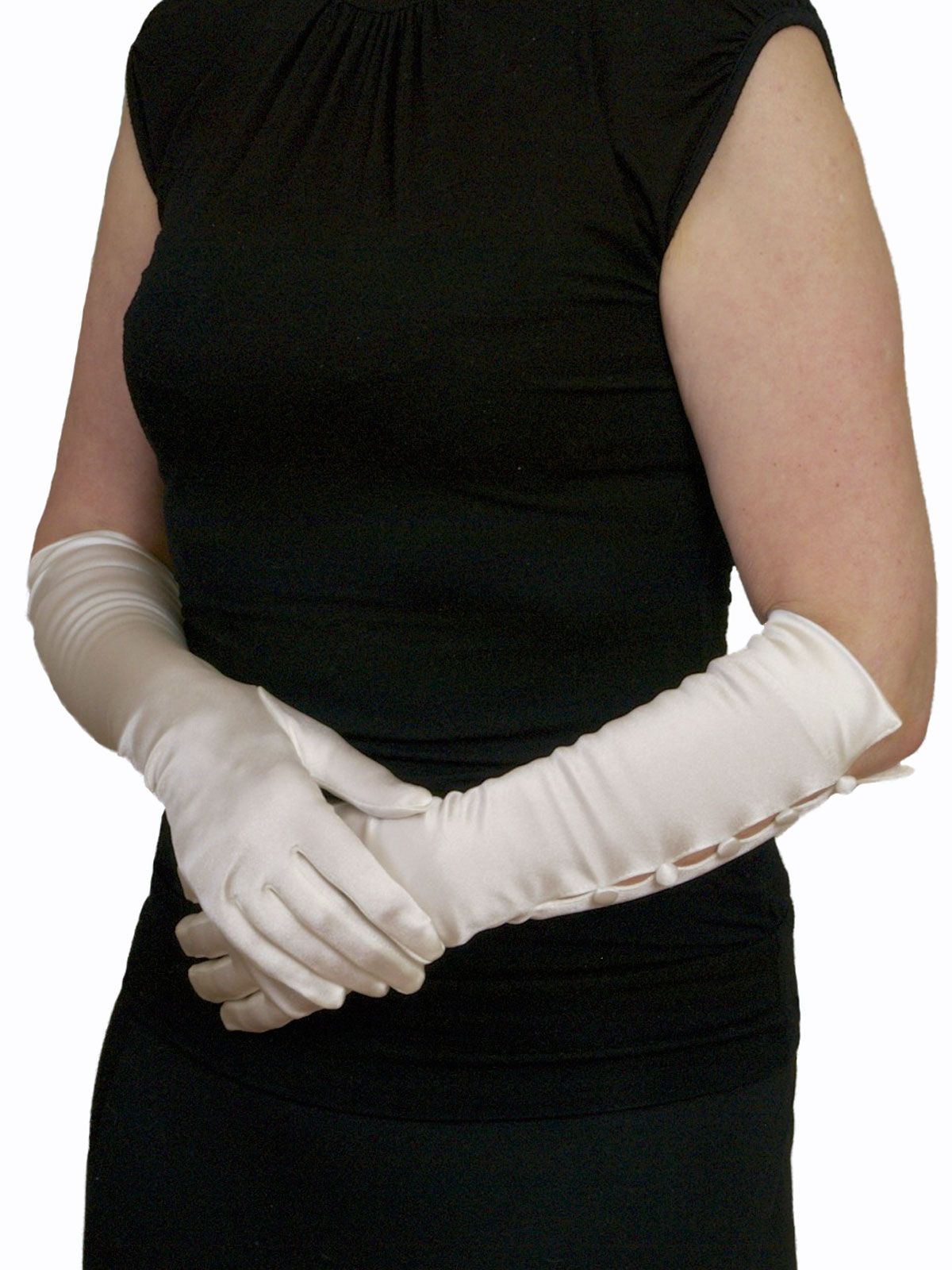 Dents ivory 3/4 satin gloves 5 buttons