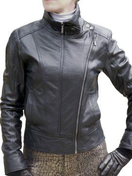 Ladies Black Leather Double-Zip Jacket