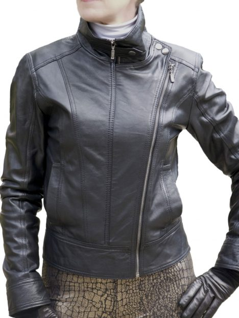 Ladies Black Leather Double-Zip Jacket